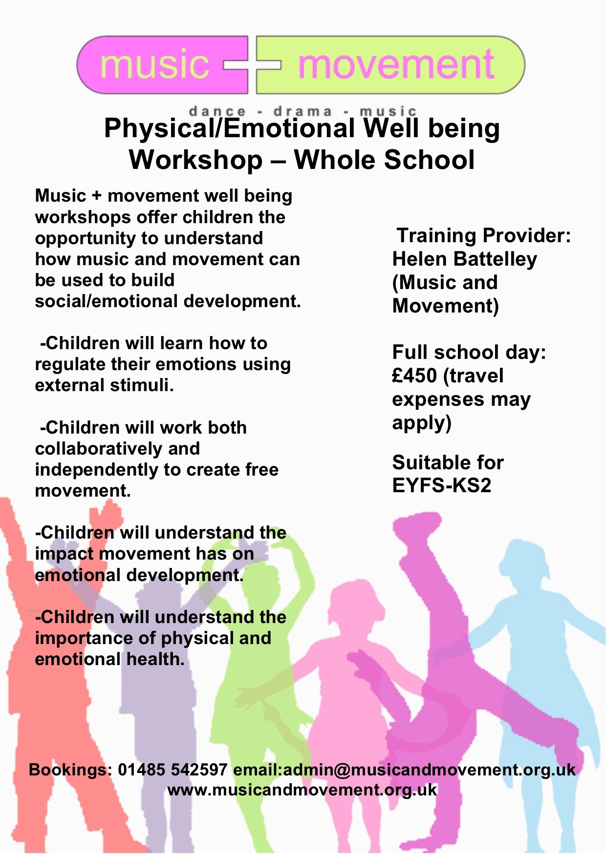 Workshops for Schools for Music, Movement and Dance for EYFS